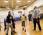 February 10, 2018- Tuscola, IL- Tuscola's Colton Rahn prepares to sink the first basket of the game during his biddy basketball game. The Illini Football team surprised Rahn, a big Illini fan who has cerebral palsy, as they came to watch him play basketball. [Photo: Douglas Cottle]