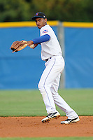 Kingsport Mets shortstop Amed Rosario #1 fields and throws to first during a game against the Bristol White Sox at Hunter Wright Stadium on August 15, 2013 in Kingsport, Tennessee. The White Sox won the game 4-2. (Tony Farlow/Four Seam Images)