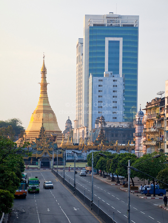 Myanmar, Burma, Yangon.  Sule Pagoda Road, Early Morning.