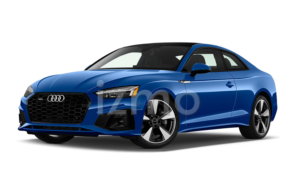 Stock pictures of low aggressive front three quarter view of 2020 Audi A5-Coupe Premium-plus 2 Door Coupe Low Aggressive