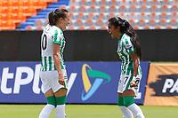 MEDELLÍN- COLOMBIA, 29-08-2021: Maria Fernanda Agudelo convierte gol contra Bucaramanga.Atlético Nacional y Atlético Bucaramanga en partido por la fecha 10 como parte de la Liga Femenina BetPlay DIMAYOR 2020 jugado en el estadio Atanasio Girardot de Medellín/ Maria Fernanda Agudelo celebrates after socoring a goal agaisnt Bucaramanga.Atletico Nacional and Atlético Bucaramanga in match for the date 10 as part of Women's BetPlay DIMAYOR 2021 League, played at Atanasio Girardot stadium of Medellin City. Photo: VizzorImage / Donaldo Zuluaga / Contribuidor