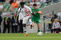 Dublin, Ireland - Saturday June 02, 2018: Tim Weah, Callum O'Dowda during an international friendly match between the men's national teams of the United States (USA) and Republic of Ireland (IRE) at Aviva Stadium.