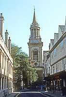 Oxford: All Saints' Church, 1706-08. Turl St., Lincoln on left. Henry Aldrich; Spire, possibly Hawksmoor. Photo '87.