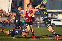 Jack Goodhue gets a pass away during the 2020 Super Rugby match between the Crusaders and Highlanders at Orangetheory Stadium in Christchurch, New Zealand on Saturday, 9 August 2020. Photo: Joe Johnson / lintottphoto.co.nz