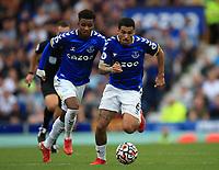 25th September 2021; Goodison Park, Liverpool, England; Premier League football, Everton versus Norwich; Allan of Everton races forward with the ball
