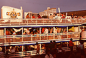 Manaus, Brazil. Fully-laden 'Gaiola' riverboat with passengers in hammocks. Amazonas State.