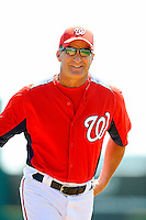 2 March 2011: Washington Nationals Manager Jim Riggleman returns to the dugout prior to a Spring Training game against the Florida Marlins at Space Coast Stadium in Viera, Florida. The Nationals defeated the Marlins 8-4 in Grapefruit League action. Mandatory Credit: Ed Wolfstein Photo