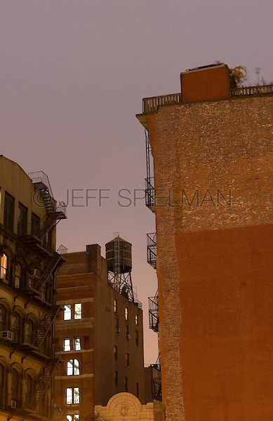 AVAILABLE FROM JEFF AS A FINE ART PRINT.<br /> <br /> AVAILABLE FROM JEFF FOR COMMERCIAL AND EDITORIAL LICENSING.<br /> <br /> Buildings in Tribeca on an Overcast Night, Lower Manhattan, New York City, New York State, USA