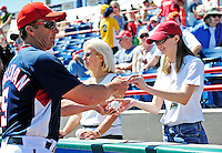 8 March 2010: Washington Nationals' Manager Jim Riggleman signs autographs and chats with fans prior to a Spring Training game against the Florida Marlins at Space Coast Stadium in Viera, Florida. The Marlins defeated the Nationals 12-2 in Grapefruit League action. Mandatory Credit: Ed Wolfstein Photo
