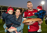 Luke Romano with his family after winning the 2020 Super Rugby match between the Crusaders and Highlanders at Orangetheory Stadium in Christchurch, New Zealand on Saturday, 9 August 2020. Photo: Joe Johnson / lintottphoto.co.nz