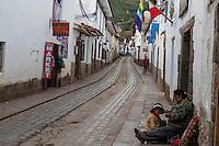 Peru, Cusco.  Street Scene in the Hills above the Plaza de Armas.
