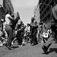 Pedestrians walking in Market Street.