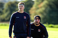Tuesday 5th October 2021<br /> <br /> Matty Rea and Tom O'Toole during Ulster Rugby training at Newforge Country Club, Belfast, Northern Ireland. Photo by John Dickson/Dicksondigital