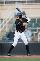 Jameson Fisher (11) of the Kannapolis Intimidators at bat against the Lakewood BlueClaws at Kannapolis Intimidators Stadium on April 6, 2017 in Kannapolis, North Carolina.  The BlueClaws defeated the Intimidators 7-5.  (Brian Westerholt/Four Seam Images)