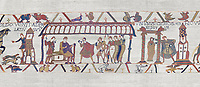 Bayeux Tapestry scene 15:  Dule William of Normandy hold discussions with Harold and, right, Williams daughter Aelgyve is detroved to him. BYX15