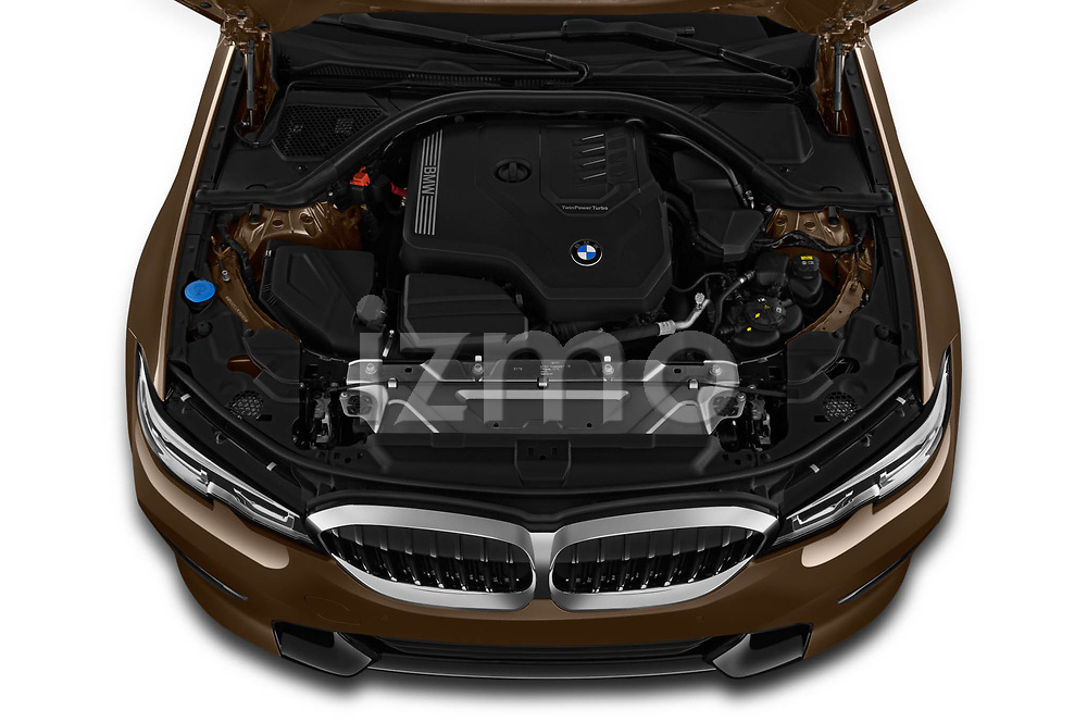 Engine high angle detail view of 2019 BMW 3-Series-Sedan 330i-Sport-Line 4 Door Sedan