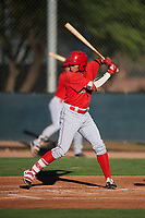 AZL Angels Jose Reyes (12) at bat during an Arizona League game against the AZL D-backs on July 20, 2019 at Salt River Fields at Talking Stick in Scottsdale, Arizona. The AZL Angels defeated the AZL D-backs 11-4. (Zachary Lucy/Four Seam Images)