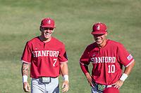 STANFORD, CA - JUNE 6: Brock Jones and Adam Crampton before a game between UC Irvine and Stanford Baseball at Sunken Diamond on June 6, 2021 in Stanford, California.