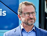 Le chef du Bloc Québécois, Yves-François Blanchet  participe au lancement de la campagne Centraide en compagnie du maire de la ville de Mont-Saint-Hilaire, M. M. Yves Corriveau, ainsi que du président d'honneur de la campagne 2021, M. Benoit Chartier, le 16 septembre 2021, à Mont-Saint-Hilaire<br /> <br /> Photo : Agence Quebec Presse - Mathieu Tye
