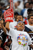 A United States (USA) fan celebrates the team's first goal. The United States and Haiti played to a 2-2 tie during a CONCACAF Gold Cup Group B group stage match at Gillette Stadium in Foxborough, MA, on July 11, 2009. .
