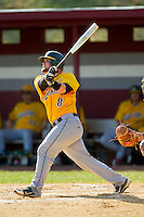 Joe Consorti (8) of the SUNY Sullivan Generals follows through on his swing against the County College of Morris Titans on the campus of County College of Morris on April 9, 2013 in Randolph, New Jersey.  The Titans defeated the Generals 12-4.  (Brian Westerholt/Four Seam Images)