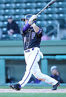 Outfielder WIll Miller (20) of the Furman Paladins in a game against the Michigan State Spartans on February 25, 2012, at Fluor Field in Greenville, South Carolina. (Tom Priddy/Four Seam Images)