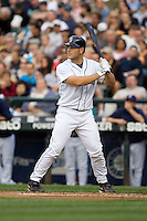 July 5, 2008:  Seattle Mariners rookie Jeff Clement at-bat against Armando Galarraga of the Detroit Tigers at Safeco Field in Seattle, Washington.