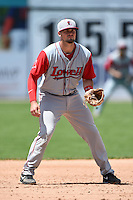 Lowell Spinners third baseman Jordan Betts (22) during a game against the Batavia Muckdogs on July 17, 2014 at Dwyer Stadium in Batavia, New York.  Batavia defeated Lowell 4-3.  (Mike Janes/Four Seam Images)
