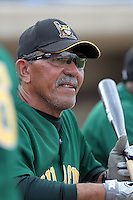 Lynchburg Hillcats manager Luis Salazar #4 during a game against the Wilmington Blue Rocks at Frawley Stadium on May 3, 2011 in Wilmington, Delaware.  Lynchburg defeated Wilmington by the score of 11-1.  Salazar lost his left eye after being struck by a line drive in spring training.  Photo By Mike Janes/Four Seam Images