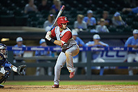 Will Wilson (8) of the North Carolina State Wolfpack at bat against the North Carolina Tar Heels in Game Twelve of the 2017 ACC Baseball Championship at Louisville Slugger Field on May 26, 2017 in Louisville, Kentucky. The Tar Heels defeated the Wolfpack 12-4. (Brian Westerholt/Four Seam Images)