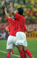Korea Republic players celebrate after their goal against Togo. Korea Republic defeated Togo 2-1 in their FIFA World Cup Group G match at the FIFA World Cup Stadium, Frankfurt, Germany, June 13, 2006.