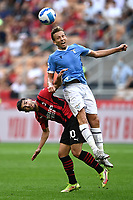 Brahim Diaz of AC Milan and Lucas Leiva of SS Lazio compete for the ball during the Serie A 2021/2022 football match between AC Milan and SS Lazio at Giuseppe Meazza stadium in Milano (Italy), August 29th, 2021. Photo Image Sport / Insidefoto