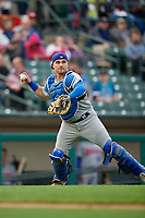 Buffalo Bisons catcher Reese McGuire (7) looks to throw to first base during an International League game against the Rochester Red Wings on May 31, 2019 at Frontier Field in Rochester, New York.  Rochester defeated Buffalo 5-4 in ten innings.  (Mike Janes/Four Seam Images)