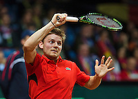 Gent, Belgium, November 27, 2015, Davis Cup Final, Belgium-Great Britain, David Goffin (BEL)<br /> Photo: Tennisimages/Henk Koster
