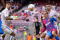 29th August 2021; Nou Camp, Barcelona, Spain; La Liga football league, FC Barcelona versus Getafe; Griezmann and Mitrovic challenge for a loose ball