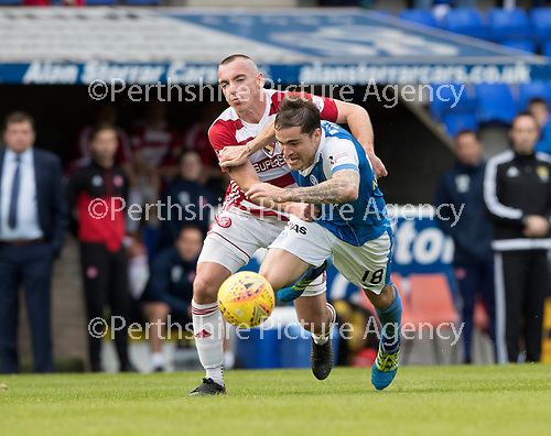 St Johnstone v Hamilton Accies…23.09.17…  McDiarmid Park… SPFL<br />Darian MacKinnon brings down Paul Paton and he is shown a red card by ref Willie Collum<br />Picture by Graeme Hart. <br />Copyright Perthshire Picture Agency<br />Tel: 01738 623350  Mobile: 07990 594431