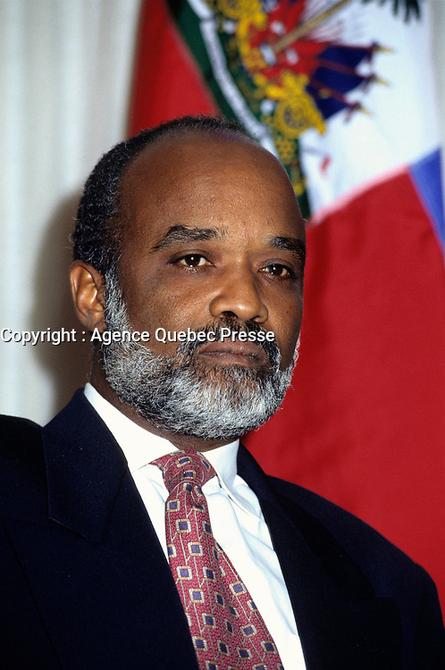 """1996 File photo  of Rene Preval <br /> newly re-elected as Haiti President,<br /> taken during an official visit in Canada.<br /> : Haiti declared Rene Preval, a one-time ally of ousted leader Jean-Bertrand Aristide, the country's next president today after reaching a deal on vote fraud claims that averted a feared outbreak of violence.<br /> <br /> Preval, a former president opposed by the same wealthy elite who helped drive Aristide from power two years ago but passionately supported by the Caribbean country's poor, claimed """"massive fraud"""" in the February 7 election had deprived him of a first-round victory in one of the world's poorest countries. <br /> Rene Preval has been declared the winner with 51 per cent,"""" council President Max Mathurin said in the statement, setting the country of 8.5 million off on the next chapter in a turbulent political history marked by instability, dictatorships and bloodshed.<br /> <br /> Photo by Pierre Roussel / Images Distribution"""