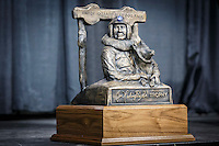 The Joe Redington Sr. 1st place winner trophy on the stage at the 2016 Iditarod musher postion drawing banquet at the Dena'ina convention center in Anchorage, Alaska on Thursday March 3, 2016  <br /> <br /> © Jeff Schultz/SchultzPhoto.com ALL RIGHTS RESERVED<br /> DO NOT REPRODUCE WITHOUT PERMISSION