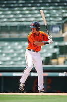 GCL Orioles first baseman Gui Yuan Xu (21) at bat during a game against the GCL Red Sox on August 16, 2016 at the Ed Smith Stadium in Sarasota, Florida.  GCL Red Sox defeated GCL Orioles 2-0.  (Mike Janes/Four Seam Images)