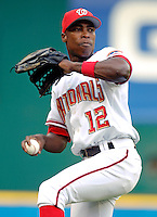 13 June 2006: Alfonso Soriano, outfielder for the Washington Nationals, warms up prior to a game against the Colorado Rockies at RFK Stadium, in Washington, DC. The Rockies defeated the Nationals 9-2 in the second game of the four-game series...Mandatory Photo Credit: Ed Wolfstein Photo..