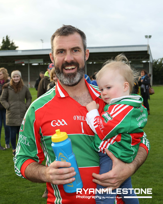 2017 Mid Tipperary Senior Football Final,<br /> Loughmore/Castleiney vs Upperchurch/Drombane,<br /> Saturday 9th September 2017,<br /> Littelton, Co Tipperary,<br /> Loughmore/Castleiney's Dominic Brennan with his daughter Cait at the end of the game.<br /> Photo By: Michael P Ryan