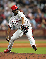 Phillies pitcher Tom Gordon on Thursday May 22nd at Minute Maid Park in Houston, Texas. Photo by Andrew Woolley / Four Seam Images.