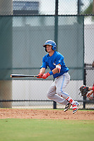 Toronto Blue Jays Brandon Polizzi (61) follows through on a swing during an Instructional League game against the Philadelphia Phillies on September 30, 2017 at the Carpenter Complex in Clearwater, Florida.  (Mike Janes/Four Seam Images)