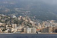 - Principality of Monaco, the city of Montecarlo view from the sea....- principato di Monaco, la città di Montecarlo vista dal mare