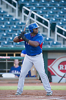 AZL Rangers left fielder Tyreque Reed (5) at bat against the AZL Indians on August 26, 2017 at Goodyear Ball Park in Goodyear, Arizona. AZL Indians defeated the AZL Rangers 5-3. (Zachary Lucy/Four Seam Images)