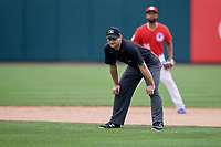 Umpire Randy Rosenberg during an International League game between the Indianapolis Indians and Buffalo Bisons on June 20, 2019 at Sahlen Field in Buffalo, New York.  Buffalo defeated Indianapolis 11-8  (Mike Janes/Four Seam Images)