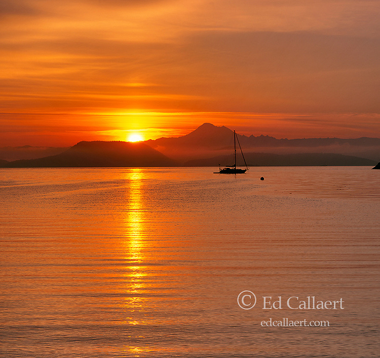 Sunrise over Mount Baker, Watmough Bay, San Juan Islands, Washington
