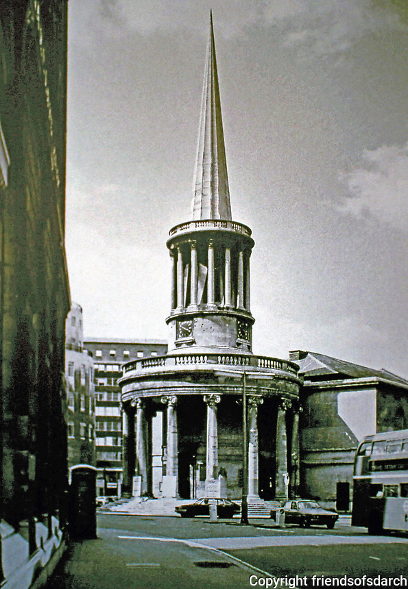 All Souls Church, Langham Place, London. Classical regency style. Architect John Nash.
