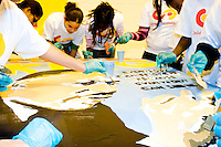 Students paint a mural of Martin Luther King, Jr. on MLK Day, January 16, 2006.