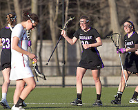 University at Albany attacker Jodi Battaglia (20) celebrates their victory. University at Albany defeated Boston College, 11-10, at Newton Campus Field, on March 30, 2011.